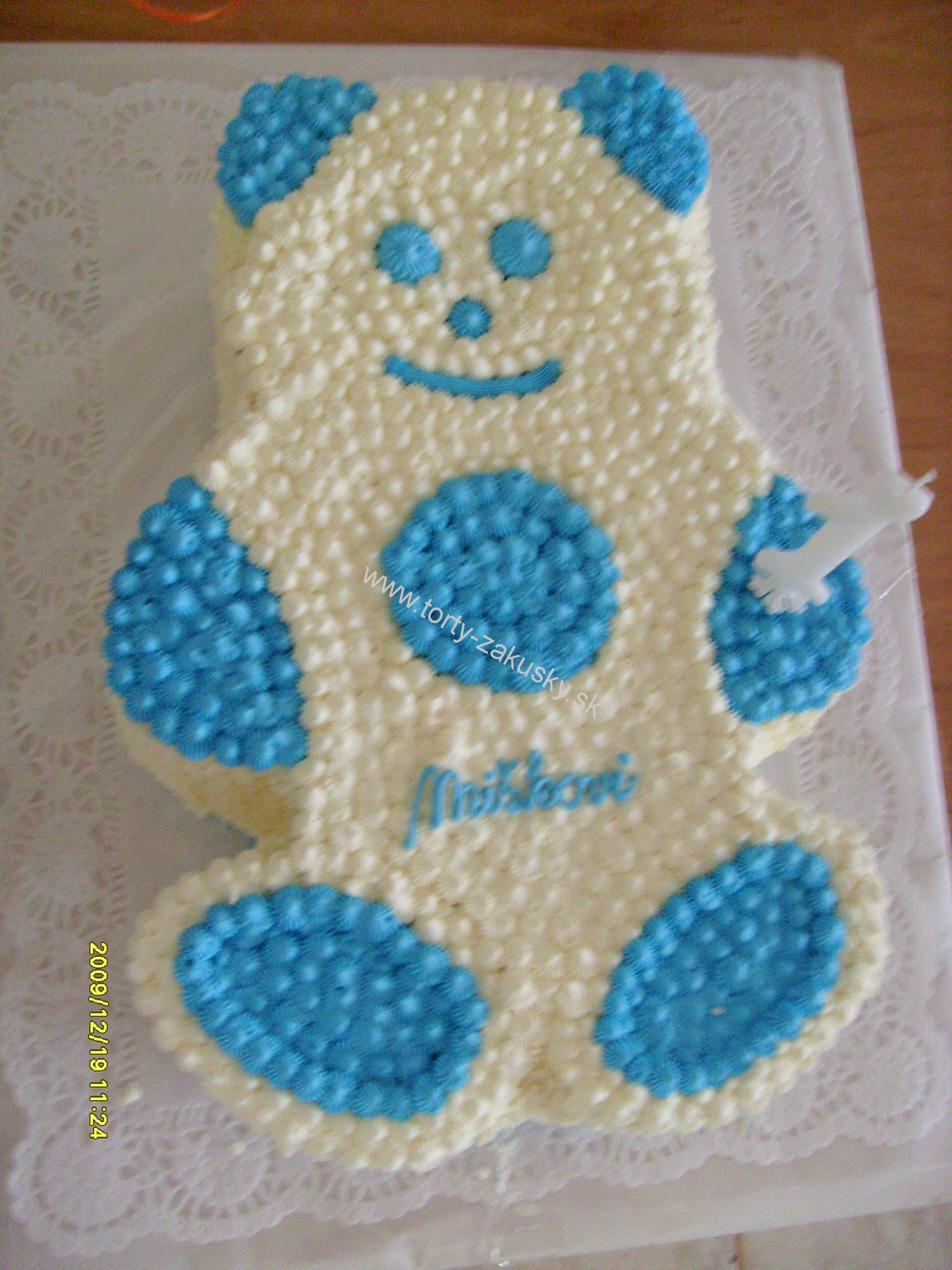 Detská torta modrý MACKO s lentilkami