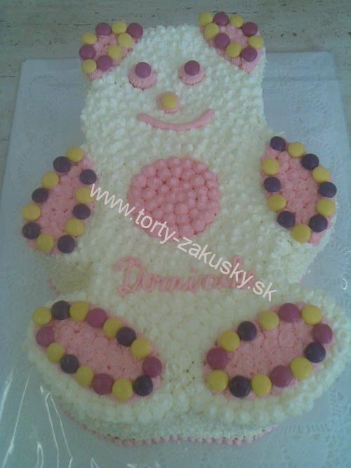 Detská torta ružový MACKO s lentilkami