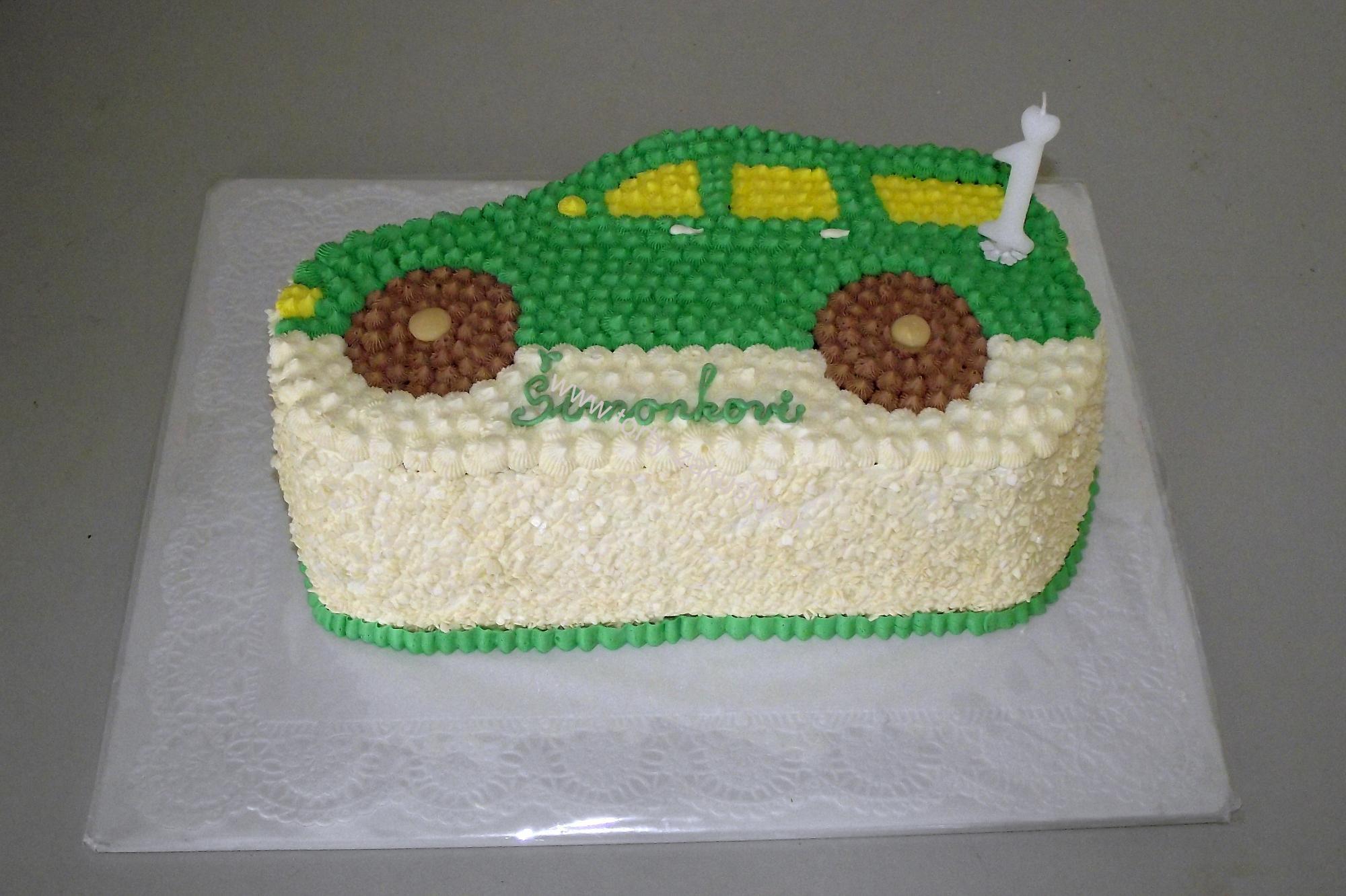 Detská torta zelené osobné autíčko